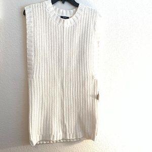 Nasty Gal Cream Sleeveless Chunky Knit Sweater Sm